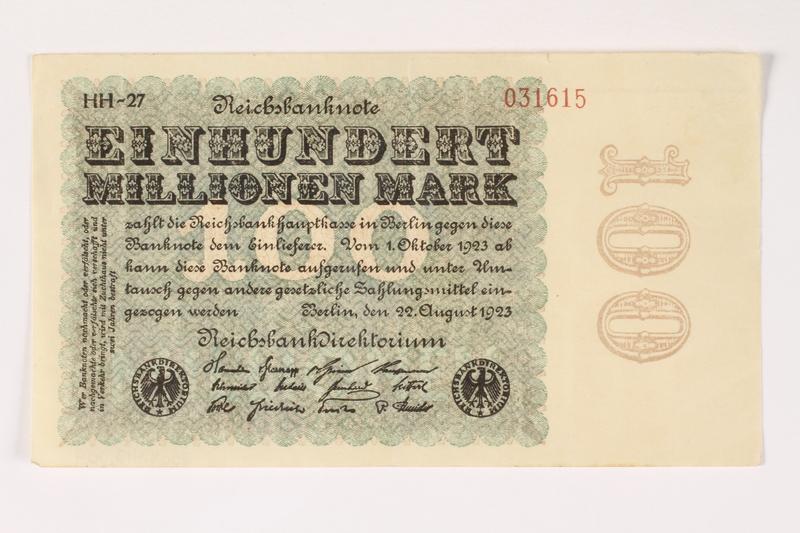 2003.413.104 front Weimar Germany Reichsbanknote, 100 million mark