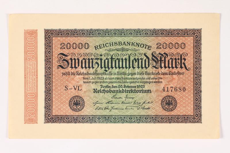 2003.413.105 front Weimar Germany Reichsbanknote, 20,000 mark