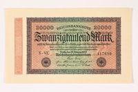 2003.413.105 front Weimar Germany Reichsbanknote, 20,000 mark  Click to enlarge