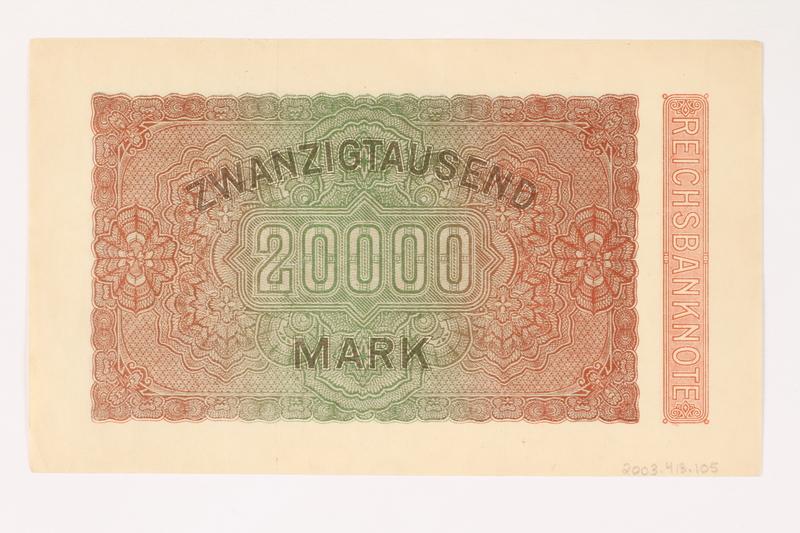 2003.413.105 back Weimar Germany Reichsbanknote, 20,000 mark