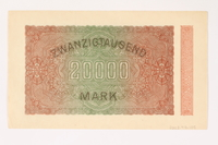 2003.413.105 back Weimar Germany Reichsbanknote, 20,000 mark  Click to enlarge