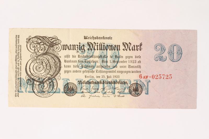 2003.413.106 front Weimar Germany Reichsbanknote, 20 million mark