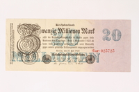 2003.413.106 front Weimar Germany Reichsbanknote, 20 million mark  Click to enlarge