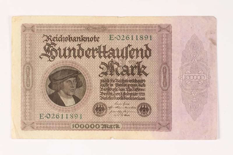 2003.413.107 front Weimar Germany Reichsbanknote, 100000 mark