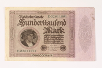 2003.413.107 front Weimar Germany Reichsbanknote, 100000 mark  Click to enlarge