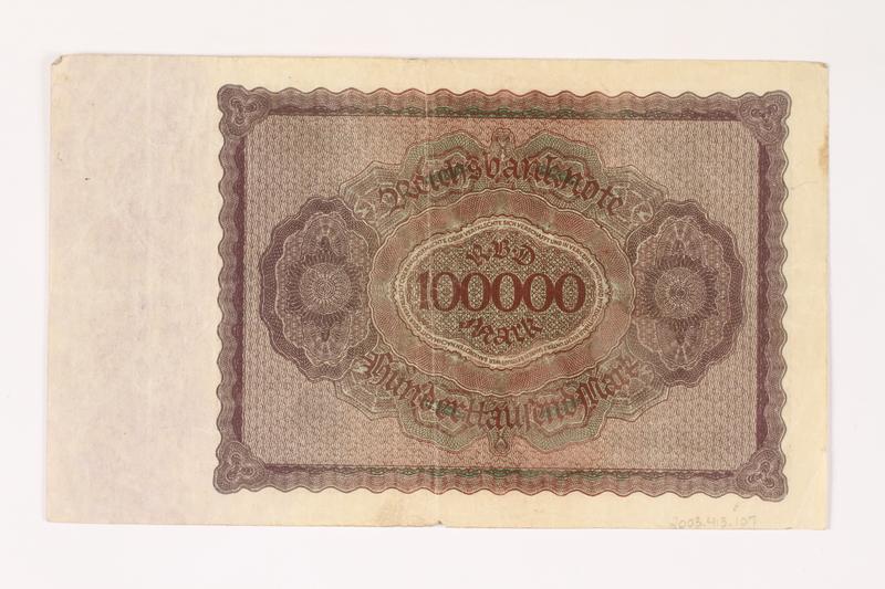 2003.413.107 back Weimar Germany Reichsbanknote, 100000 mark