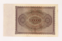 2003.413.107 back Weimar Germany Reichsbanknote, 100000 mark  Click to enlarge