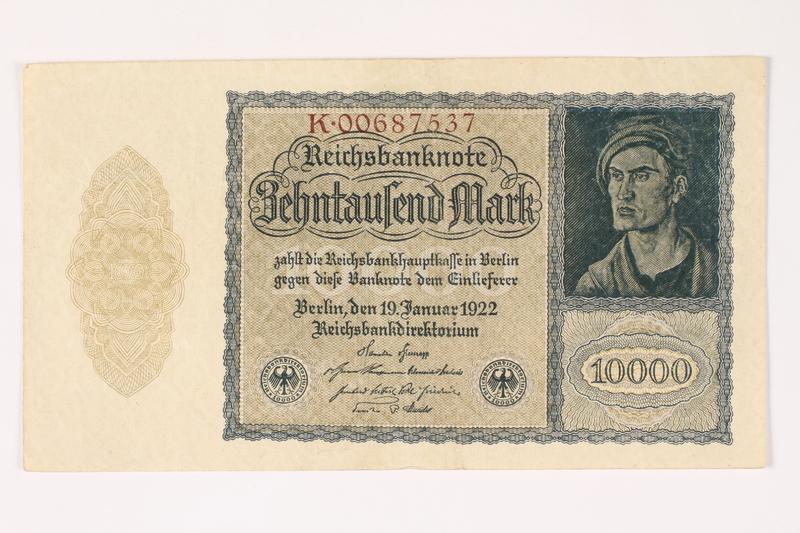 2003.413.108 front Weimar Germany Reichsbanknote, 10000 mark