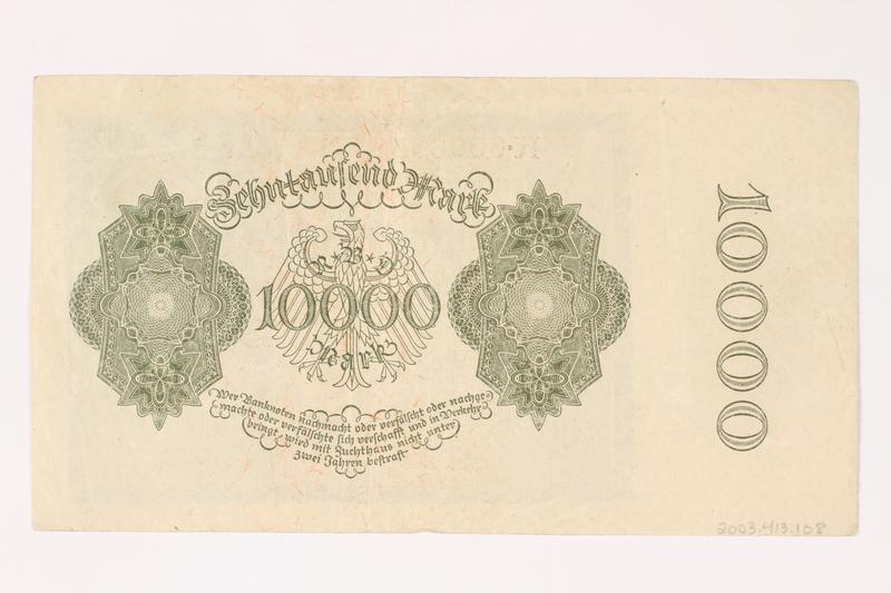 2003.413.108 back Weimar Germany Reichsbanknote, 10000 mark