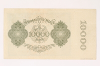 2003.413.108 back Weimar Germany Reichsbanknote, 10000 mark  Click to enlarge