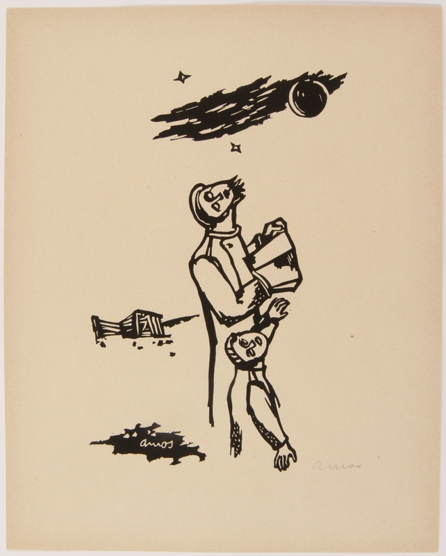 2015.309.4  front 1 from a series of 14 wartime prints by a Hungarian Jewish artist honoring the Jewish holidays