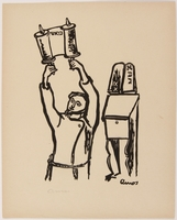 2015.309.13 1 from a series of 14 wartime prints by a Hungarian Jewish artist honoring the Jewish holidays  Click to enlarge