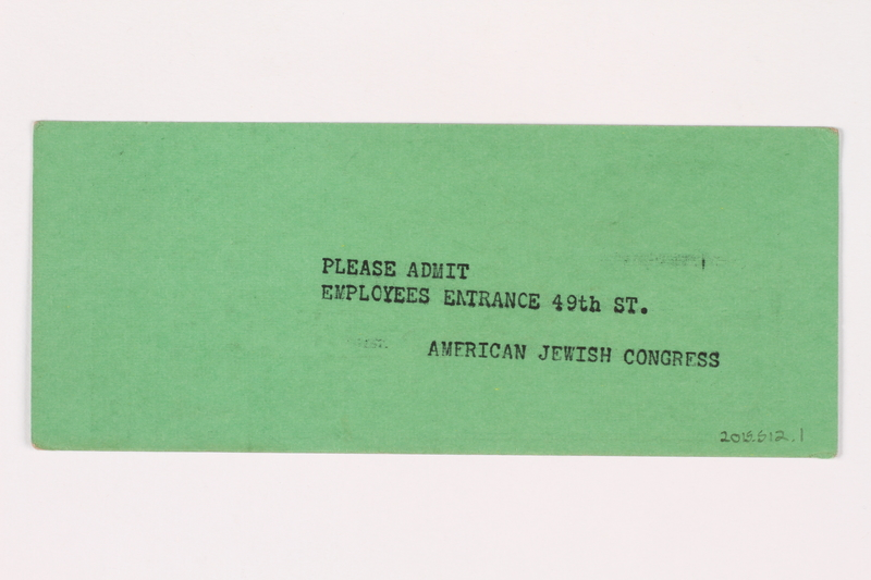 2015.512.1 back Green admission ticket for an anti-Nazi rally in Madison Square Garden