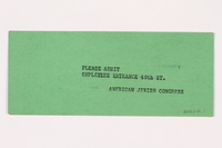 2015.512.1 back Green admission ticket for an anti-Nazi rally in Madison Square Garden  Click to enlarge