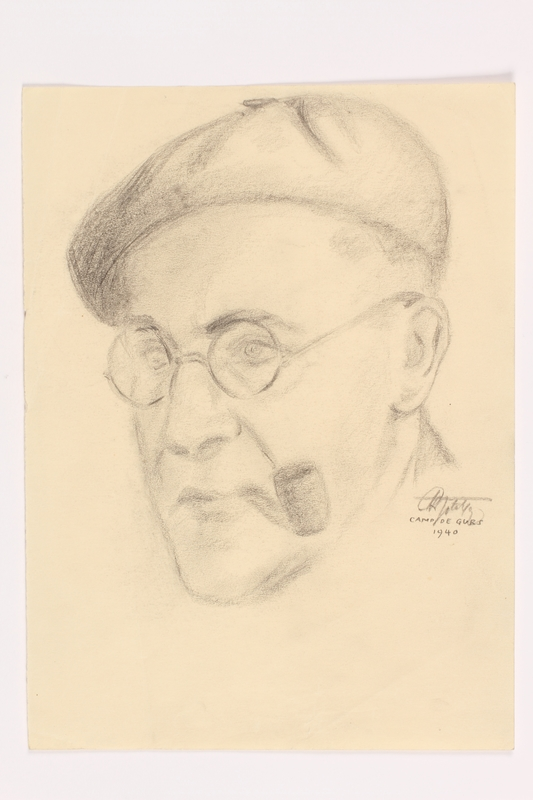 2013.486.2 front Portrait of a pipe smoking man interned at Gurs drawn by another inmate