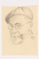 2013.486.2 front Portrait of a pipe smoking man interned at Gurs drawn by another inmate  Click to enlarge