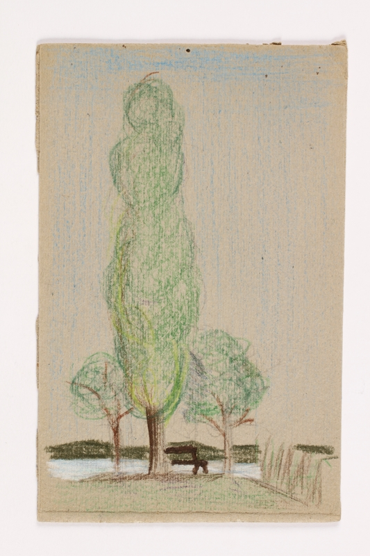 2013.486.4 front Child's drawing of trees along the lake done by a German Jewish refugee