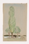Child's drawing of trees along the lake done by a German Jewish refugee