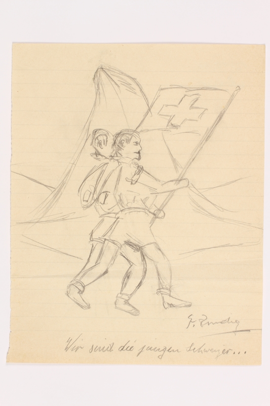 2013.486.5 front Child's sketch of 2 boys parading with a Swiss flag by a German Jewish refugee