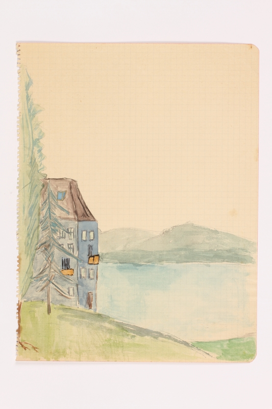 2013.486.6 front Child's watercolor of a house near a lake in the Alps by a  German Jewish refugee