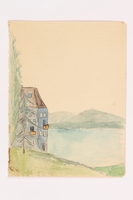 2013.486.6 front Child's watercolor of a house near a lake in the Alps by a  German Jewish refugee  Click to enlarge