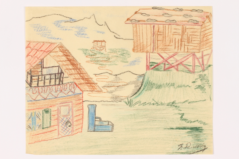 2013.486.7 front Child's drawing of 2 houses near the mountains by a German Jewish refugee
