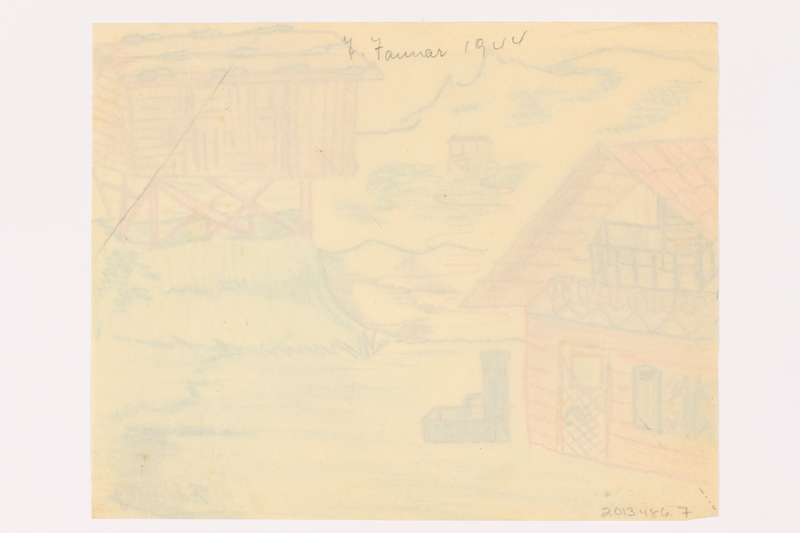 2013.486.7 back Child's drawing of 2 houses near the mountains by a German Jewish refugee