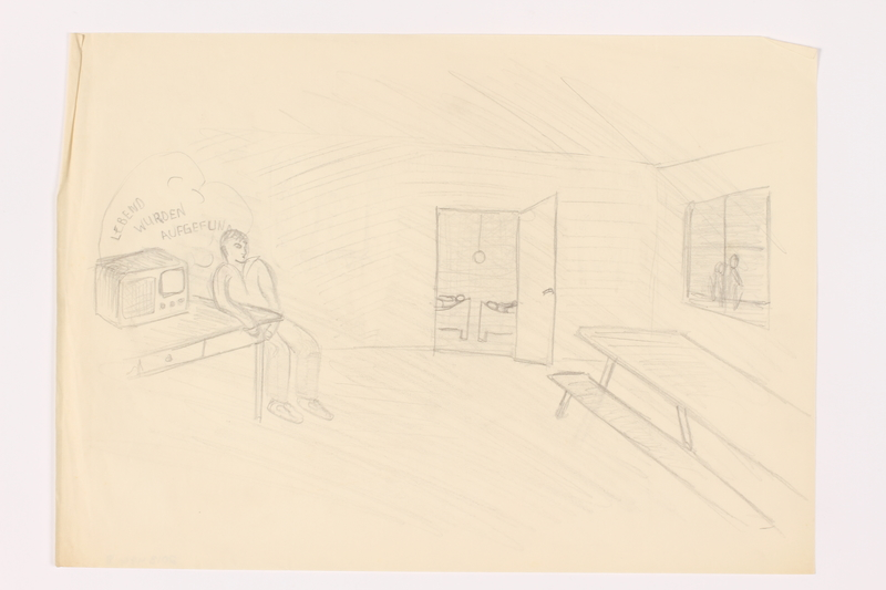 2013.486.8 front Child's sketch of a man listening to a radio drawn by a young German Jewish refugee