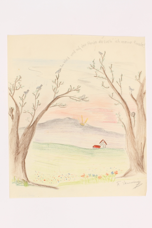 2013.486.9 front Child's drawing of a faraway house by a German Jewish refugee