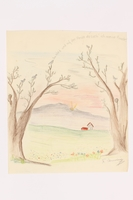 2013.486.9 front Child's drawing of a faraway house by a German Jewish refugee  Click to enlarge