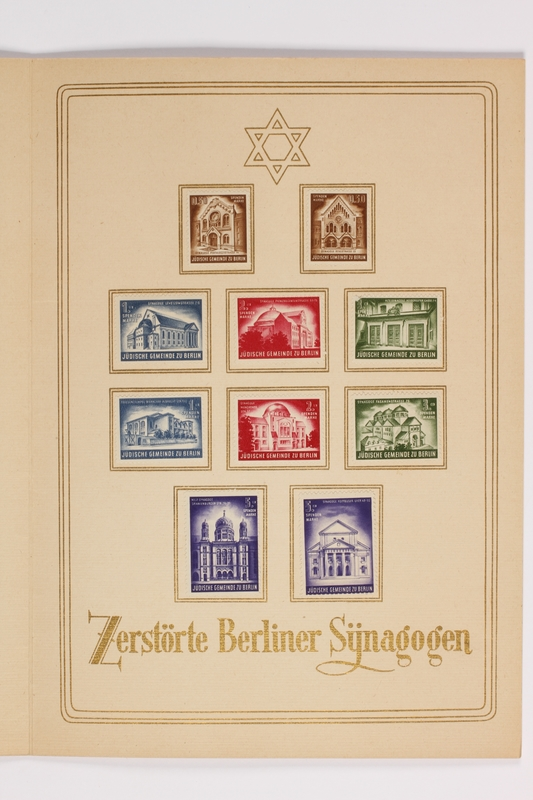 1994.A.0076.2 inside right Souvenir booklet of 10 stamps for Berlin synagogues destroyed during Kristallnacht