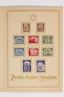 1994.A.0076.2 inside right Souvenir booklet of 10 stamps for Berlin synagogues destroyed during Kristallnacht  Click to enlarge