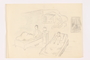 Child's pencil sketch of 2 boys in beds listening to the radio by a German Jewish refugee