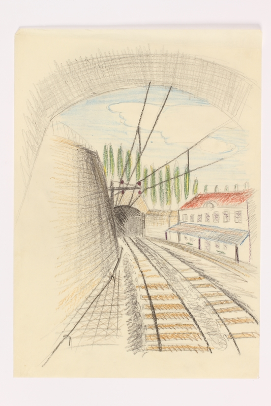 2013.486.11 front Child's drawing of train tracks approaching a tunnel by a German Jewish refugee