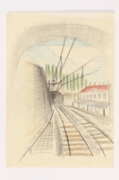 2013.486.11 front Child's drawing of train tracks approaching a tunnel by a German Jewish refugee  Click to enlarge