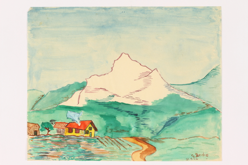 2013.486.13 front Child's watercolor of a house near a road leading to the Alps by a young Jewish boy