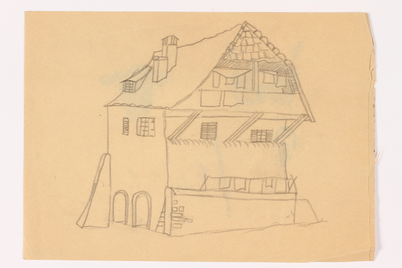 2013.486.14 front Child's two sided drawing of a house and 4 watercolor studies by a German Jewish refugee