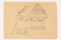 2013.486.14 front Child's two sided drawing of a house and 4 watercolor studies by a German Jewish refugee  Click to enlarge
