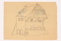 Child's two sided drawing of a house and 4 watercolor studies by a German Jewish refugee