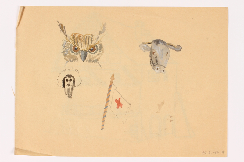 2013.486.14 back Child's two sided drawing of a house and 4 watercolor studies by a German Jewish refugee