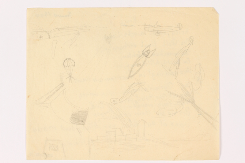 2013.486.15 front Child's depiction of an imagined aerial battle drawn by a German Jewish refugee