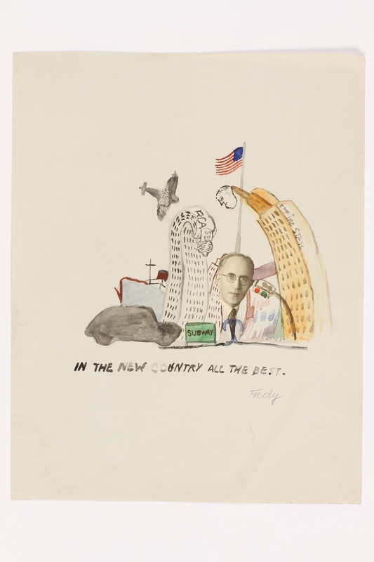 2013.486.16 front Child's collage of a man's face over New York City by a German Jewish refugee