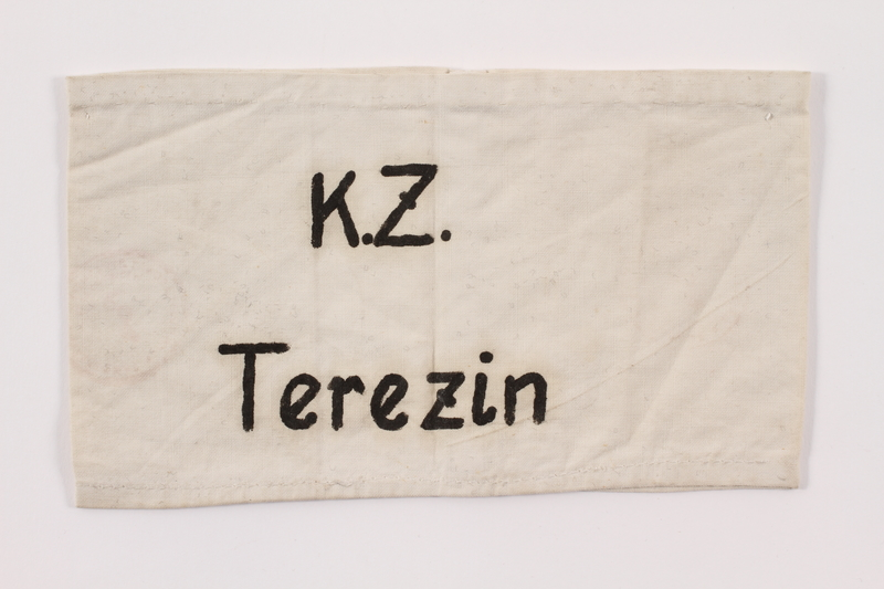 2015.323.3 front Armband hand printed K.Z. Terezin worn by a Jewish prisoner