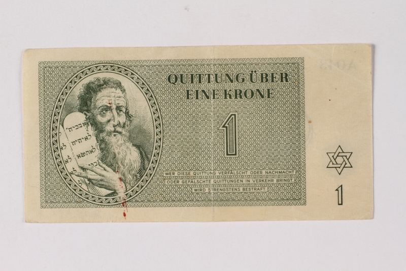 2013.523.2 front Theresienstadt ghetto-labor camp scrip, 1 krone note, owned by a German Jewish survivor