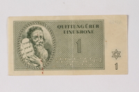 2013.523.2 front Theresienstadt ghetto-labor camp scrip, 1 krone note, owned by a German Jewish survivor  Click to enlarge
