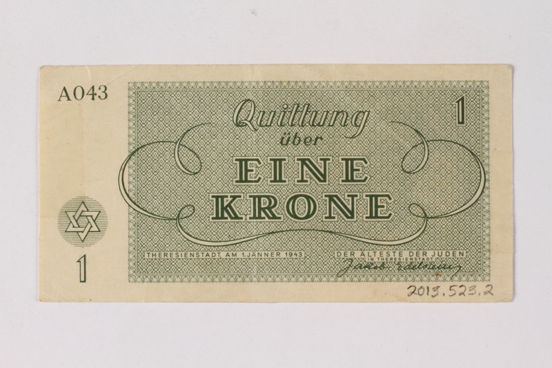 2013.523.2 back Theresienstadt ghetto-labor camp scrip, 1 krone note, owned by a German Jewish survivor