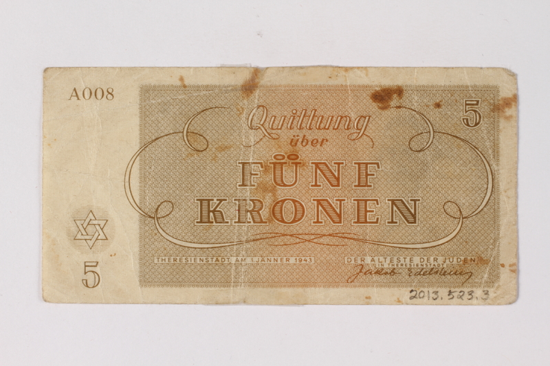 2013.523.3 back Theresienstadt ghetto-labor camp scrip, 5 kronen note, owned by a German Jewish survivor