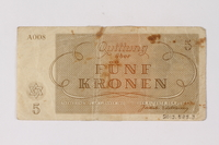 2013.523.3 back Theresienstadt ghetto-labor camp scrip, 5 kronen note, owned by a German Jewish survivor  Click to enlarge