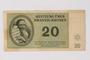 Theresienstadt ghetto-labor camp scrip, 20 kronen note, owned by a German Jewish survivor