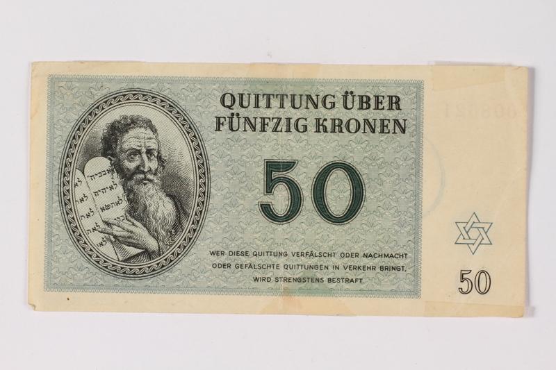2013.523.5 front Theresienstadt ghetto-labor camp scrip, 50 kronen note, owned by a German Jewish survivor